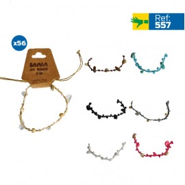 B-557 - Lot de 56 Bracelets pierres et coquillage