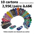 Promo - Lot de 10 cartons tongs drapeau et bride fine