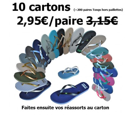 Promo - Lot de 10 cartons tongs drapeau