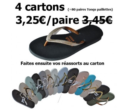 Promo - Lot de 4 cartons tongs Paillettes