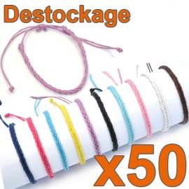 D-148 - Lot de 50 Bracelets tressés fins ENFANT réglables - Déstockage
