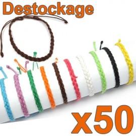 D-160 - Lot de 50 Bracelets tressés unis - Déstockage